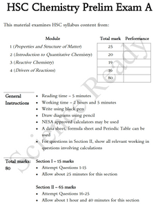 Year 11 Chemistry Preliminary Practice Exam A