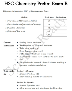 Year 11 Chemistry Preliminary Practice Exam B