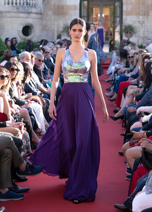 Sequins Purple Maxi Dress