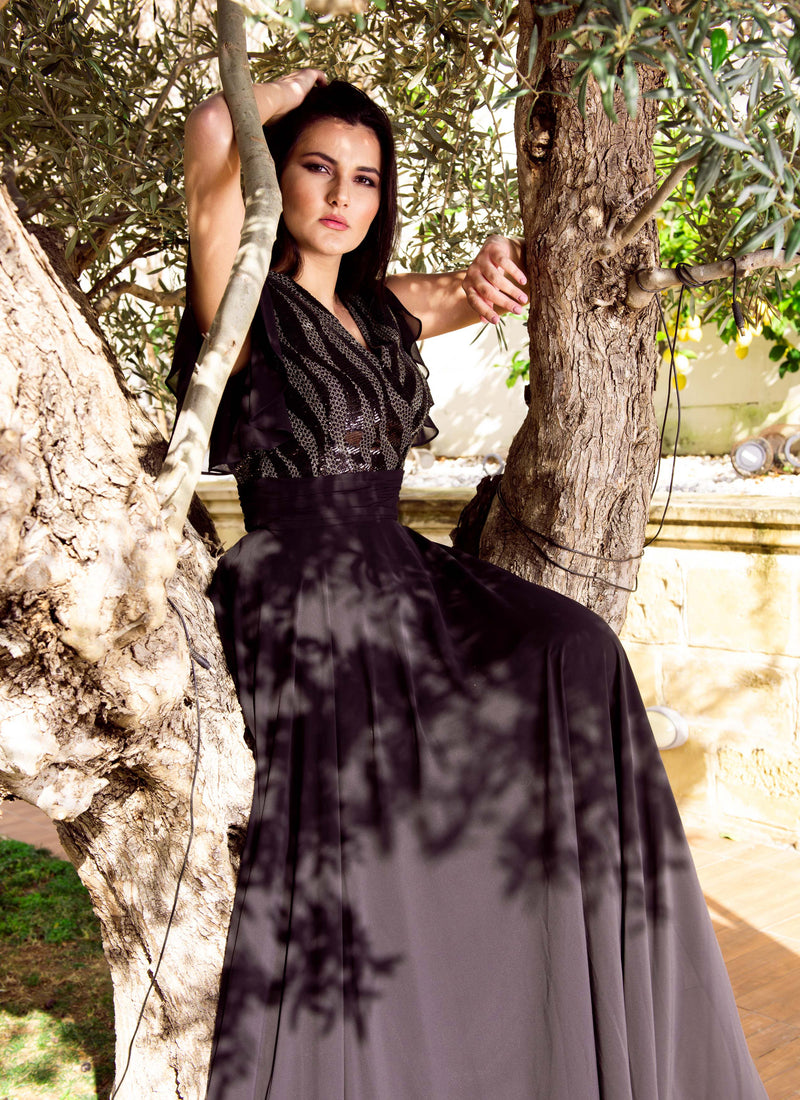Black and Silver embellished maxi dress