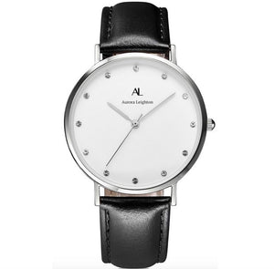 Aurora Simple Silver Black Leather Watch