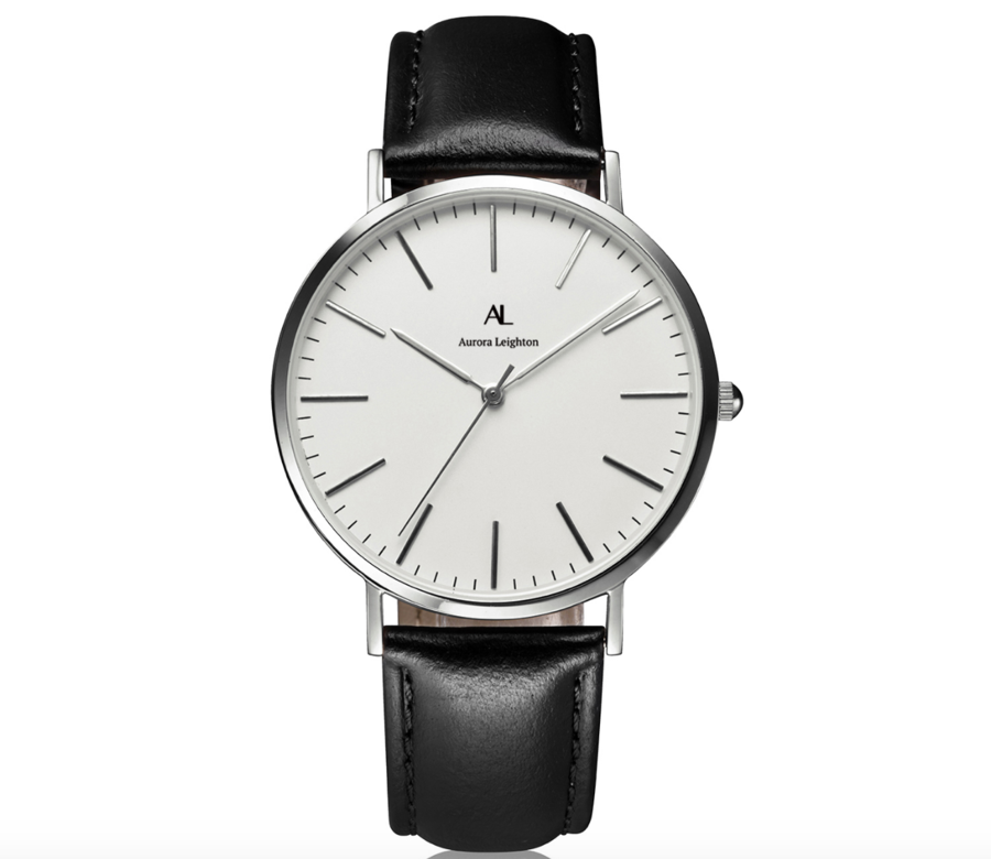 Aurora Leighton for Men Simple Silver Black Leather Watch