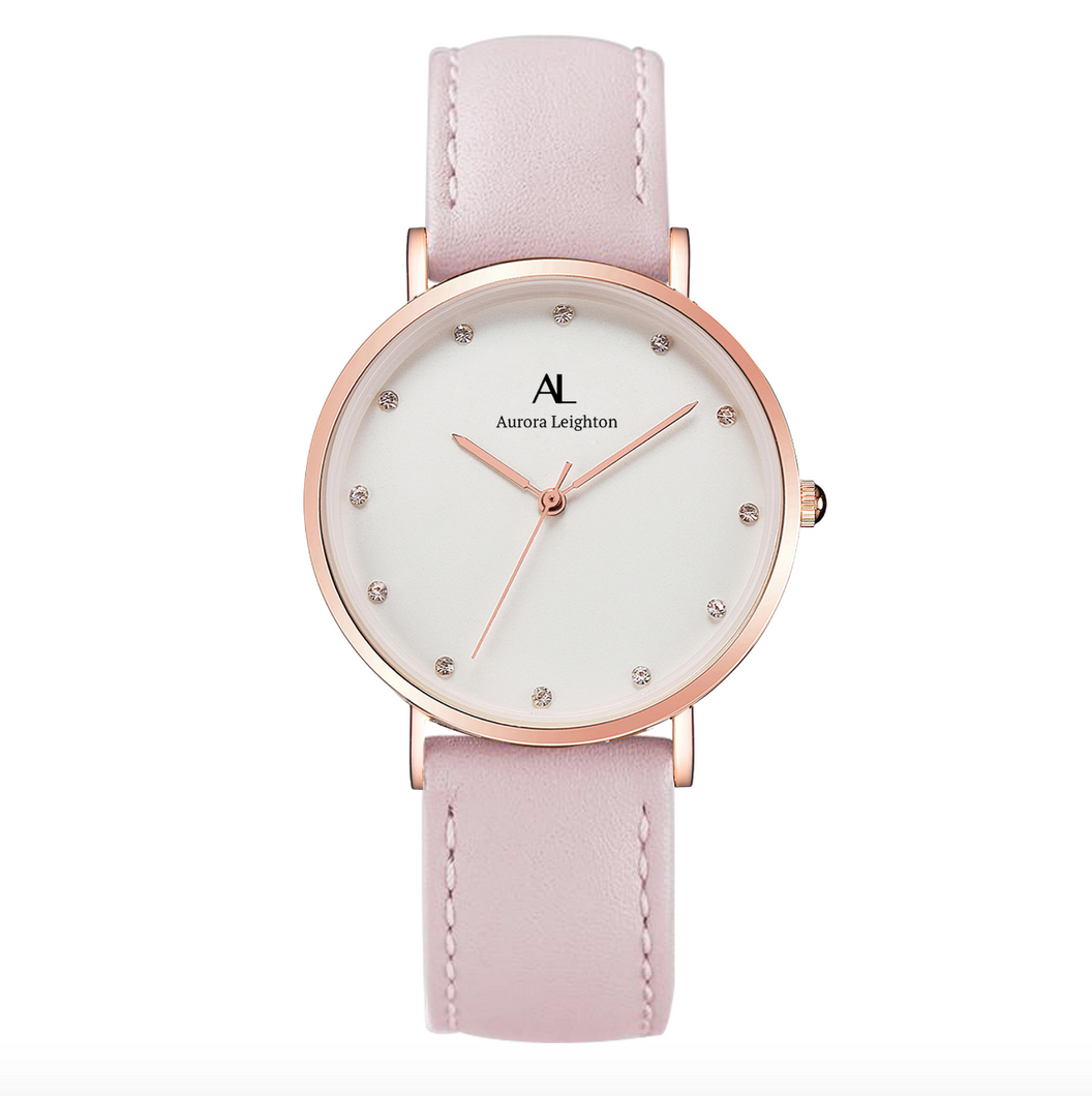 Aurora Simple Rose Pink Leather Watch