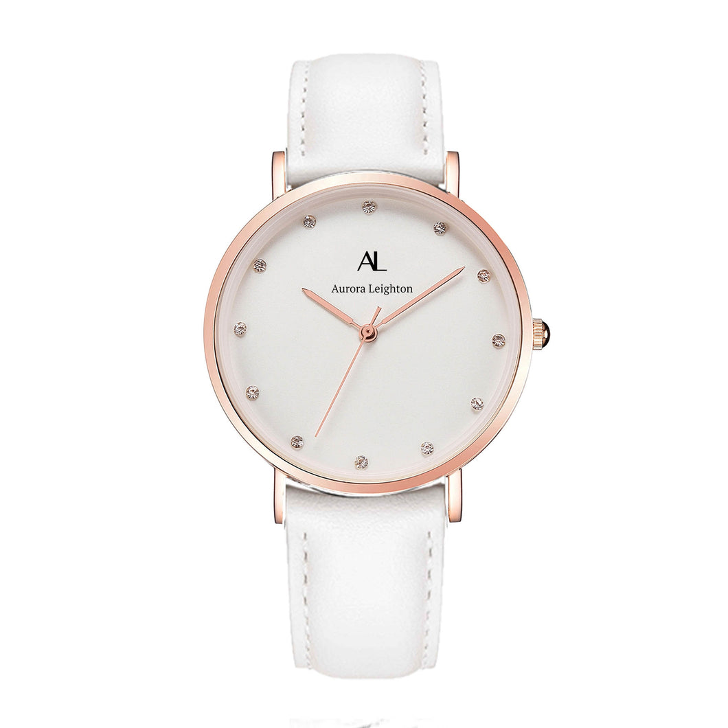 Aurora Simple White Leather Watch