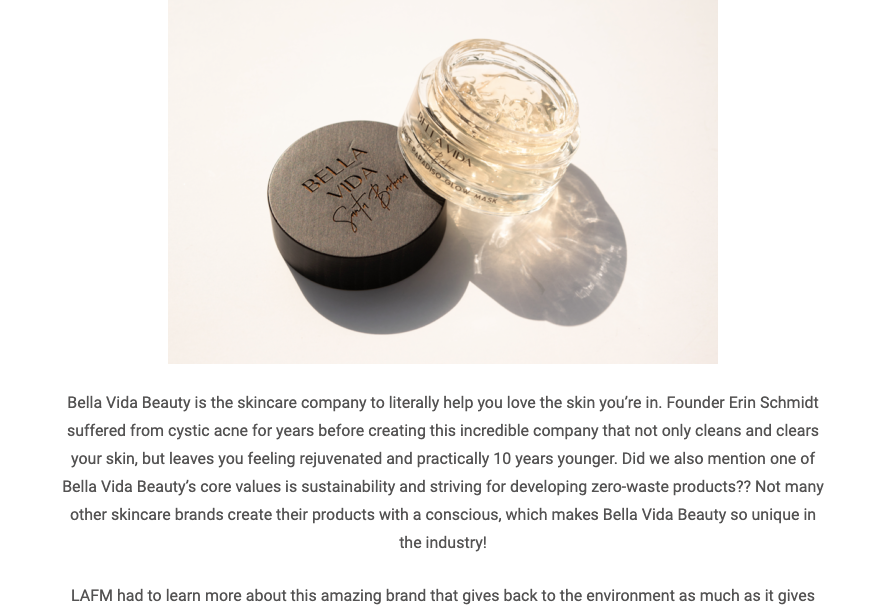 "LA Fashion magazine dubs ""Bella Vida is the Skincare company you've been waiting for!' October, 2019"