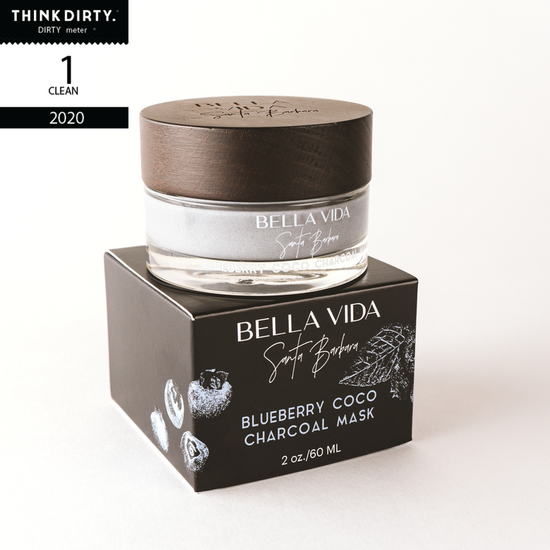 Bella Vida Santa barbara Luxury Clean Skincare Blueberry Coco Charcoal Clay Face Mask think dirty rated clean 1