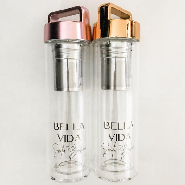 Bella Vida Glass Detox Water Bottles in Gold or Rose Gold with tea infuser Detoxify Zero Waste Bella Vida Santa Barbara