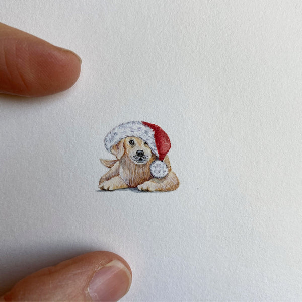 Miniature Painting of Christmas puppy
