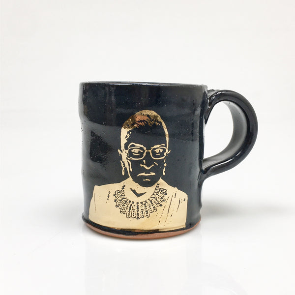 Ruth Bader Ginsburg black and gold mug