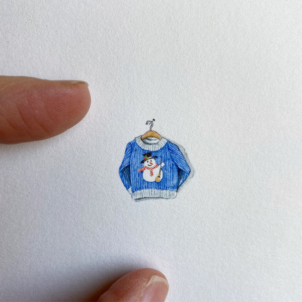 Miniature Painting of Christmas sweater