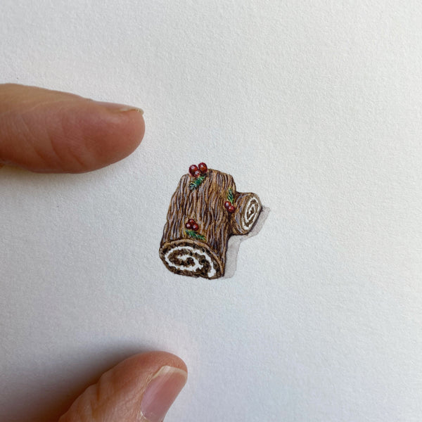 Miniature Painting of Christmas log
