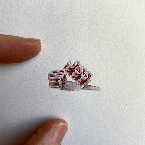 Miniature Painting of Ribbon Candy