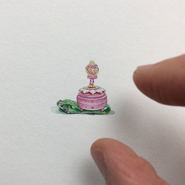 Unframed Miniature Painting of a Polly Pocket