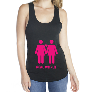 Eco Friendly Racerback Tank Top for Women | Lesbian Pride (PNK)-Eco Conscious Clothing