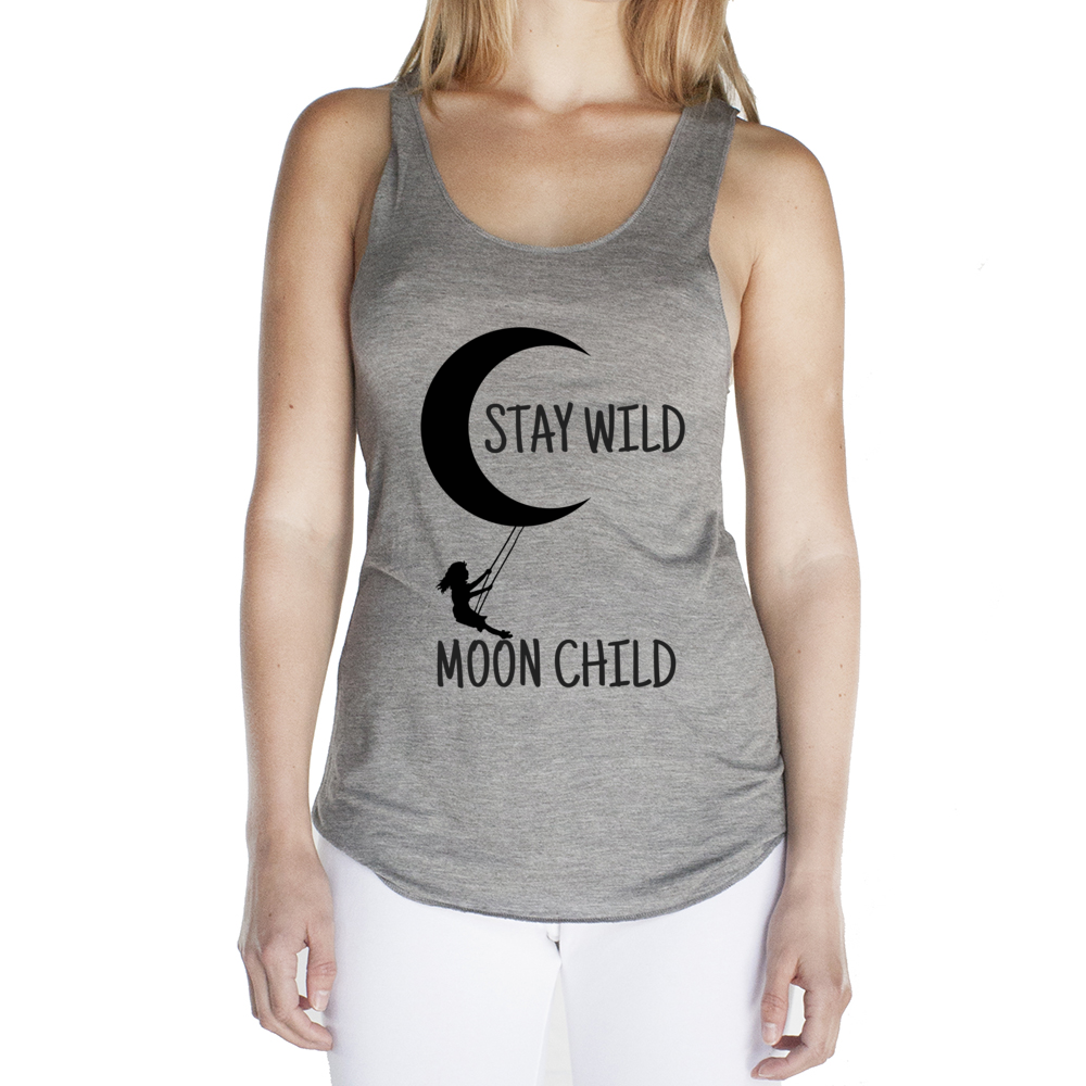 Eco Friendly Racerback Tank Top for Women | Stay Wild Moon Child-Eco Conscious Clothing