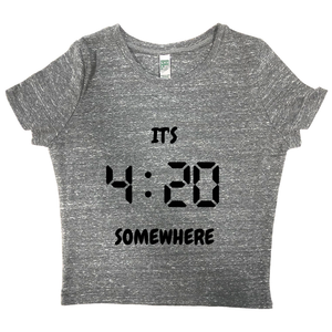 rPet & Organic Cotton Graphic Crop Top | It's 420 Somewhere (digital)-Eco Conscious Clothing