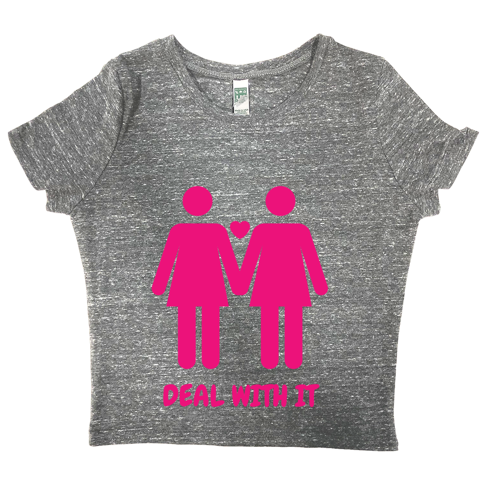 rPet & Organic Cotton Graphic Crop Top | Lesbian Pride (PNK)-Eco Conscious Clothing