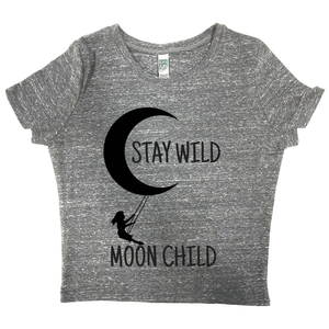 rPet & Organic Cotton Graphic Crop Top | Stay Wild Moon Child-Eco Conscious Clothing