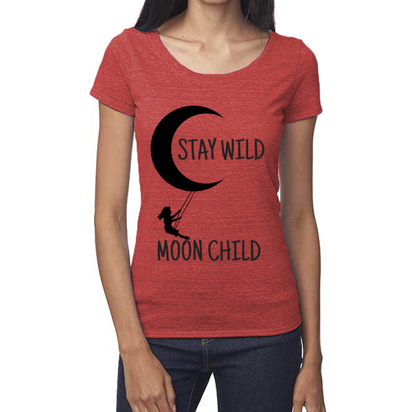 rPet & Organic Cotton Scoop Neck Tee | Stay Wild Moon Child-Eco Conscious Clothing