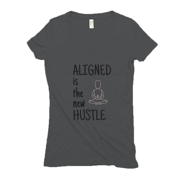 Women's V Neck T Shirts - Hemp | Aligned is the New Hustle-Eco Conscious Clothing