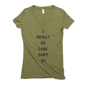 Women's V Neck T Shirts - Hemp | I Really Do Care, Don't U?-Eco Conscious Clothing