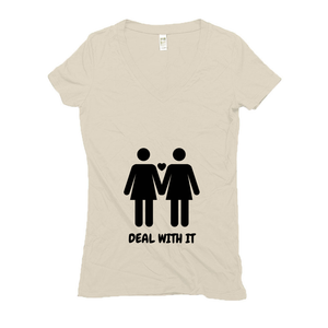 Women's V Neck T Shirts - Hemp | Lesbian Pride (BLK)-Eco Conscious Clothing