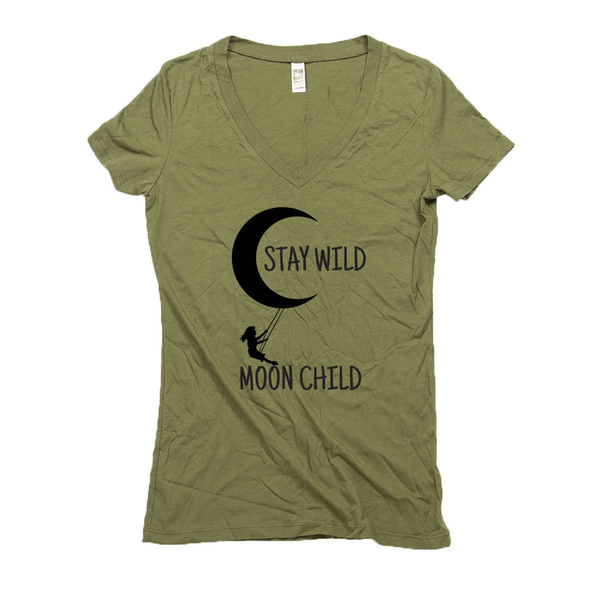 Women's V Neck T Shirts - Hemp | Stay Wild Moon Child-Eco Conscious Clothing