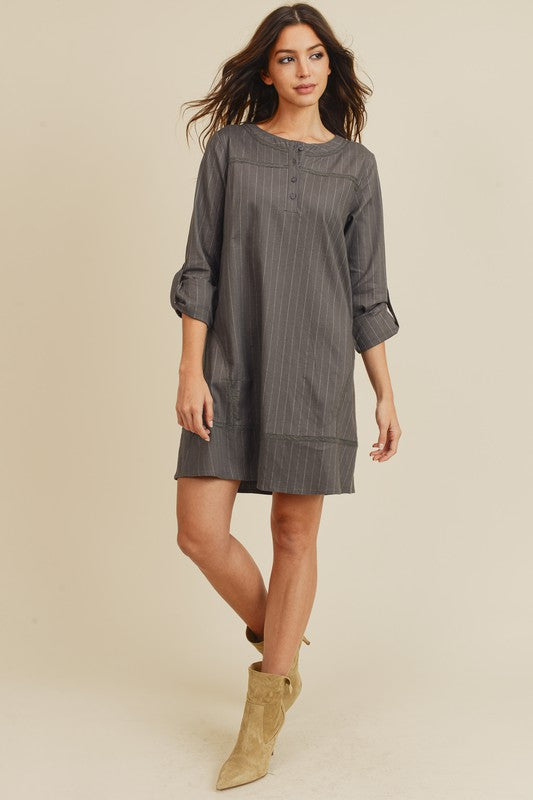Pinstripe Linen Dress