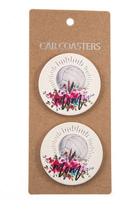 Volleyball Mom Car Coasters