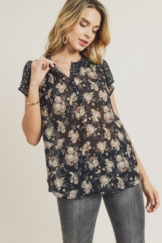 Mixed Floral Print Top