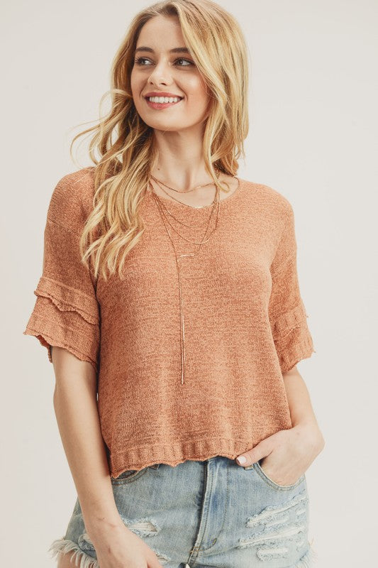 Double Layered Sleeve knit top