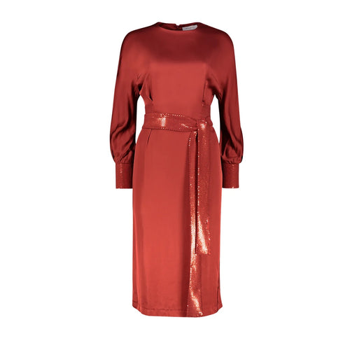 Long Sleeve Midi Dress Ediet  with sequined sleeves and cuffs