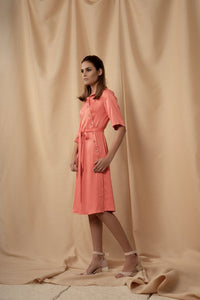 Midi Colar Dress Ettera With Assymetric Closing & Glass Buttons