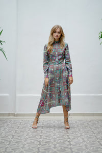 Long Sleeve Paisley Print Summer Dress