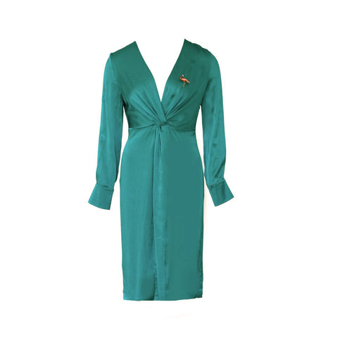 Midi Turquoise Satin Dress Sharrie With Flamingo Brooch