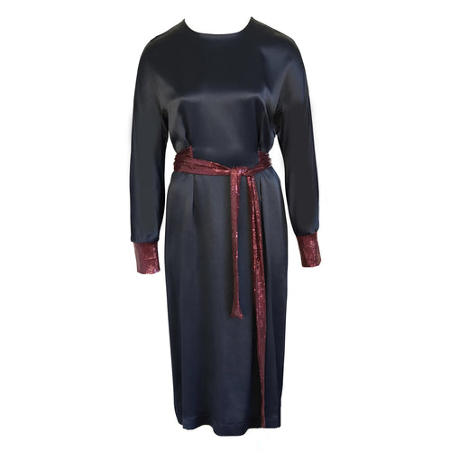 Navy Midi Dress Esther with sequined Belt and Cuffs