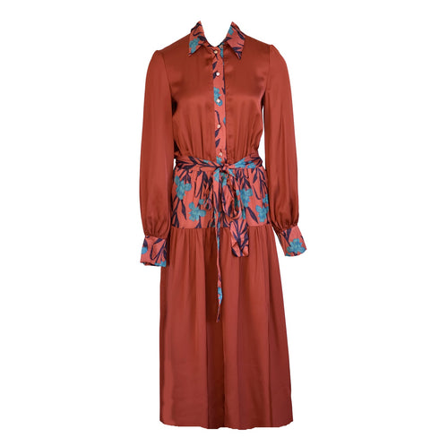 Long Sleeve  Terracotta Dress Lynn with Floral Print