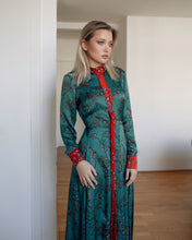 Load image into Gallery viewer, Green  Satin Dress Edie with Japanese style Floral Print
