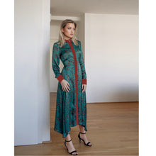 Load image into Gallery viewer, Green Satin Dress Edem With Japanese Style Floral Print
