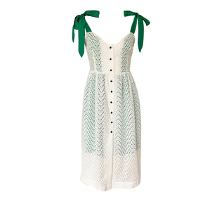White Summer Cotton Dress with Green Straps and Buttons
