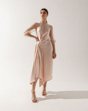 Load image into Gallery viewer, Beige Satin Midi Dress Luna
