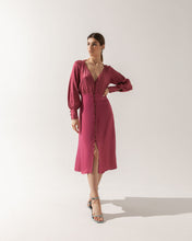 Load image into Gallery viewer, Fuchsia Midi Dress Theodora  with glass buttons