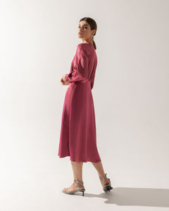 Fuchsia Midi Dress Theodora  with glass buttons