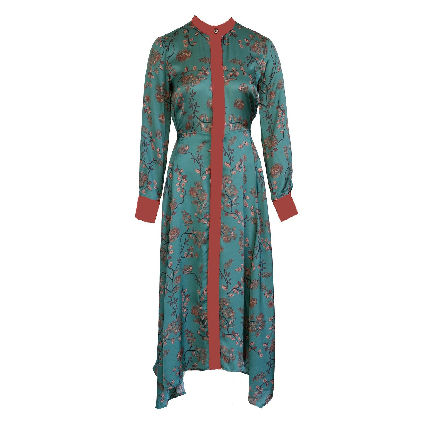 Green Satin Dress Edem With Japanese Style Floral Print