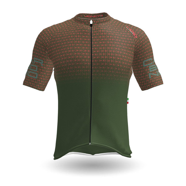 Carbonio Unisex Cycling Jersey Army Salmon