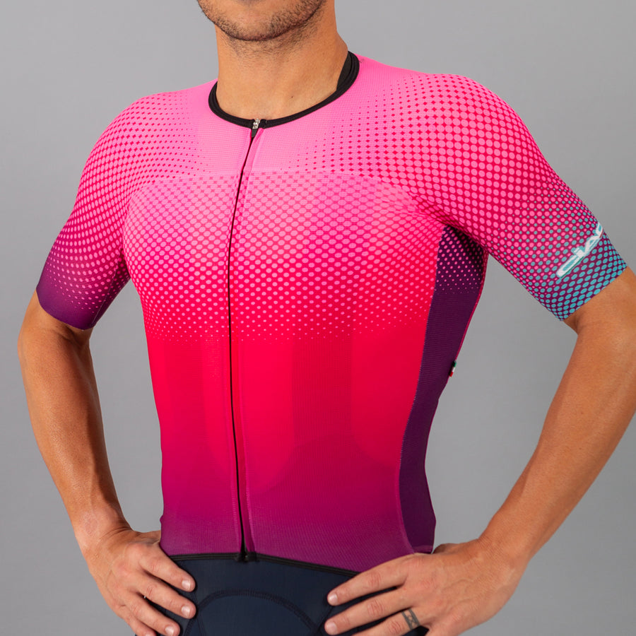 Colors Pink Fluo Violet Unisex Cycling Jersey