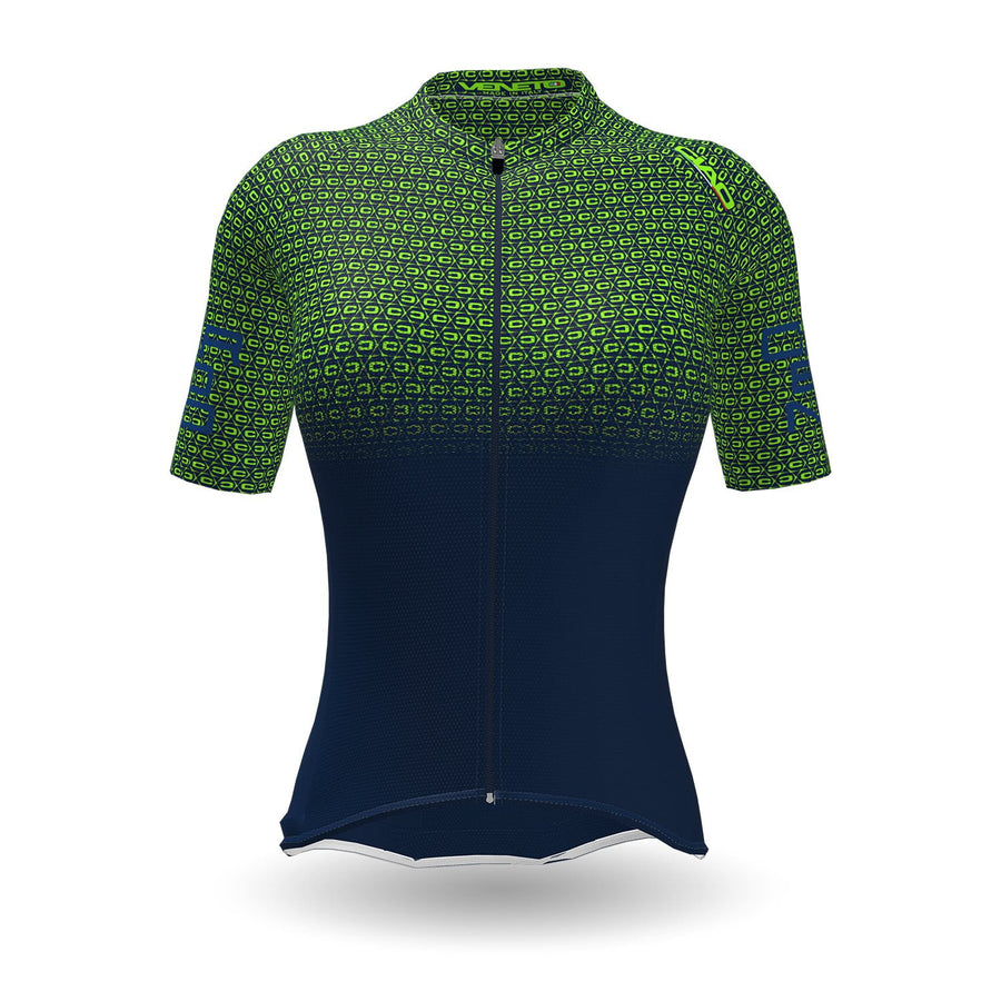 Carbonio Unisex Cycling Jersey Blue Green fluo