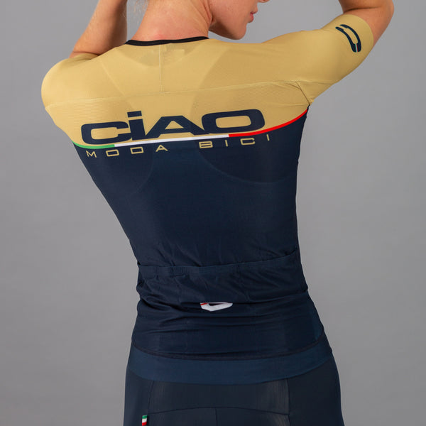Scritta Gold Blue Unisex Cycling Jersey