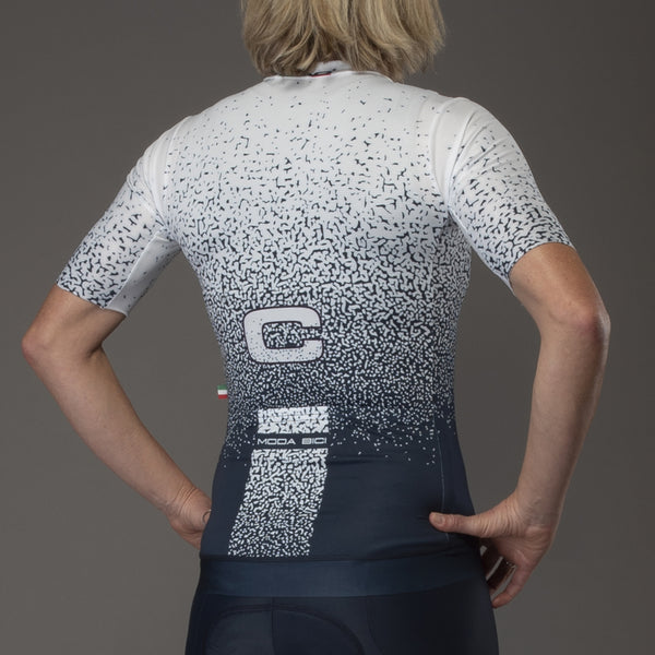Spray Blue White Unisex Cycling Jersey