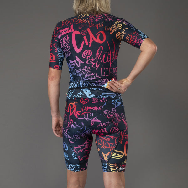 Graffiti Blue Rainbow Women Triathlon Body